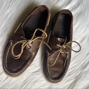 Boys brown leather sperry top-sider size 2.5
